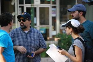 "BTS photo of ""Spun"" Director (Adam Rosenbaum), Editor (Dan Alvarado), Assistant Director (Adi Dardik), Writer/Producer (Eyal Alony) bright and early at 7am in Montrose, California."